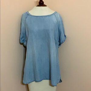 Denim short sleeve blouse